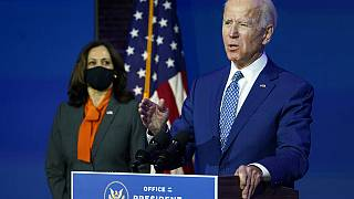 President-elect Joe Biden, joined by Vice President-elect Kamala Harris, speaks at The Queen theater, Monday, Nov. 9, 2020, in Delaware.