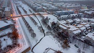 Der erste Schnee der Saison in Frankfurt