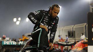 Le Britannique Lewis Hamilton, après sa victoire lors du Grand prix de Bahreïn le 29 novembre 2011