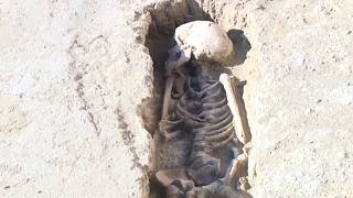 One of 400 skeletons found in Zaragosta, Spain, believed to be part of an 8th century a Muslim necropolis