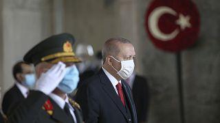Le président turc Erdogan au mausolée d'Ataturk, le 29 octobre 2020.