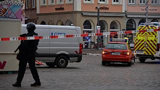 Police secures the scene where a car drove into pedestrians in Trier, southwestern Germany, on December 1, 2020