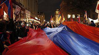 Fransa'da Karabağ için eylem yapan Ermeni göstericiler (arşiv)