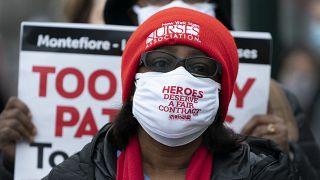 Enfermeros en huelga en New Rochelle, Nueva York
