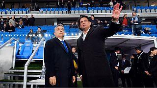 Orbán Viktor miniszterelnök és Deutsch Tamás, az MTK elnöke a Hidegkúti Nándor stadion átadóján 2016-ban