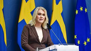 Sweden's Minister for Health and Social Affairs Lena Hallengren gives a news conference on new restrictions to curb the spread of the coronavirus pandemic, in Stockholm