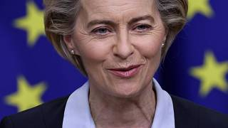 European Commission President Ursula von der Leyen gives a statement at the EU headquarters in Brussels, Monday, Nov. 16, 2020.