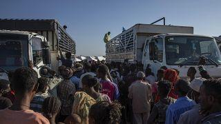 لاجئو تيغراي الذين فروا من الصراع في منطقة تيغراي بإثيوبيا