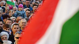 Fidesz party supporters in Szekesfehervar, Hungary, Friday, April 6, 2018.