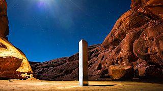 Die Metall-Säule in der Wüste von Utah vor ihrem Verschwinden