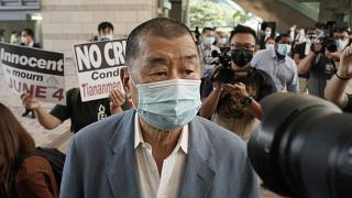 n this Thursday, Oct. 15, 2020 photo, Jimmy Lai arrives at a court in Hong Kong.