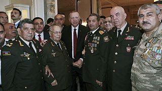 رجب طیب اردوغان، رئیس جمهوری ترکیه در جمع فرماندهان ارتش ترکیه و آذربایجان
