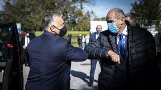 ARCHÍV: Orbán Viktor és Janez Jansa szlovén miniszterelnök Kidričevóban 2020 októberében