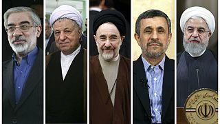 از راست: حسن روحانی، محمود احمدینژاد، محمد خاتمی، اکبر هاشمی رفسنجانی، میرحسین موسوی