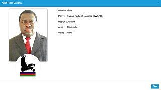 Adolf Hitler Uunona, más conocido como Adolf Uunona, vencedor en el condado de Ompundja.