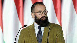 Szájer József beszédet mond 2019. április 5-én a Fidesz európai parlamenti választási kampánynyitóján