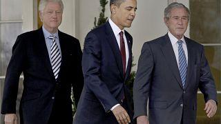 Οι πρώην πρόεδροι των ΗΠΑ Μπαράκ Ομπάμα, Τζορτζ Ου. Μπους και Μπιλ Κλίντον