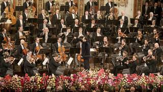 Latvian conductor Andris Nelsons conducts the Vienna Philharmonic Orchestra Jan. 1, 2020.