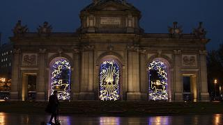 La Puerta de Alcalá con iluminación navideña, Madrid 27/11/2020