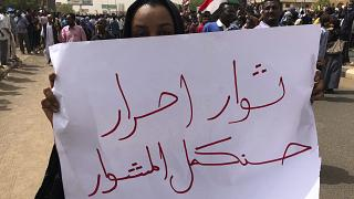 خلال مظاهرة ضد المجلس العسكري في الخرطوم، السودان