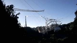 This photo is from video provided by the US National Science Foundation of the radio telescope in Arecibo, Puerto Rico, Tuesday, Dec. 1, 2020.