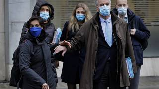 Michel Barnier, center right, arrives with his team to the Conference Centre in London, 4 December 2020.