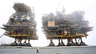 Danimarka'da Frederikshavn yakınlarında petrol ve doğalgaz arama platformu