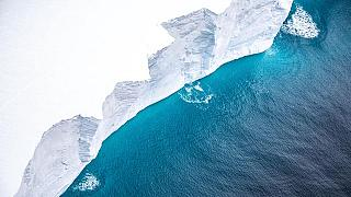 Flying along the iceberg revealed the steep vertical sides, approximately 30m high.