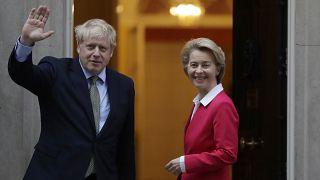 Britain's Prime Minister Boris Johnson greets European Commission President Ursula von der Leyen
