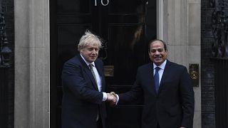 İngiltere Başbakanı Boris Johnson, Mısır Cumhurbaşkanı Abdulfettah el Sisi (21 Ocak 2020/ arşiv)