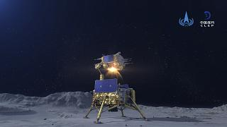 صورة توثق لحظة إقلاع المسبار عن سطح القمر حاملاً عينات منه نشرتها وكالة الفضاء الصينية