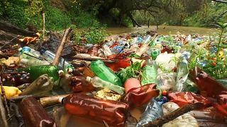 Мусорный затор на реке Боржава, кадр из видео