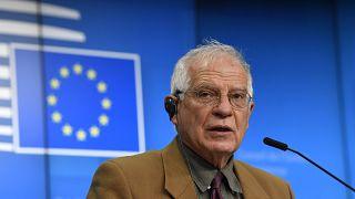 El Alto Representante de la Unión para Asuntos Exteriores y Política de Seguridad, Josep Borrell, durante la rueda de prensa