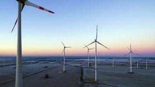 A wind energy park near Jacobsdorf, Germany.