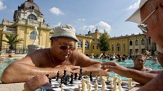 Sakkozók a budapesti Széchenyi fürdőben