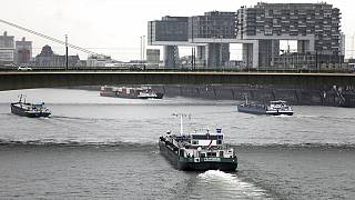 Niedrigwasser am Rhein in Köln