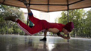 Carlos Cruz, a breakdancer, practices in Mexico City in August 2020.