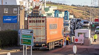 A lorry passes through security at the Port of Larne in Co Antrim, Northern Ireland, which handles travel and freight from Scotland, December 6, 2020.