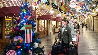 Rusya'da bir alışveriş merkezinde Noel süslemeleri
