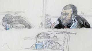 Charlie Hebdo davasının baş zanlısı Ali Rıza Polat'ın yargılandığı sıradaki karakalem resmi (2 Aralık 2020)