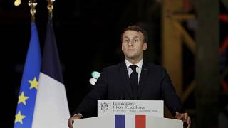 French President Emmanuel Macron, delivers his speech during a visit at Framatome nuclear reactor production site in Le Creusot on December 8, 2020.