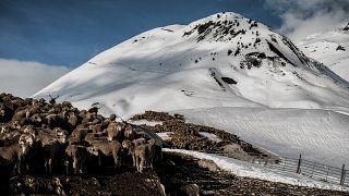 The Col du Glandon, near Saint Colomban Des Villards, a mountain pass in the Dauphine Alps in Savoie