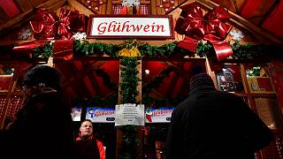 A mulled wine booth at the Christmas market at Berlin's Alexanderplatz, December 21, 2016.