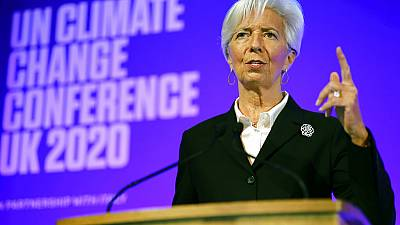 President of the European Central Bank Christine Lagarde addresses an event to launch the private finance agenda for the United Nations Climate Change Conference COP26