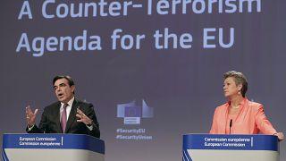مفوضة الشؤون الداخلية في الاتحاد الأوروبي، يلفا يوهانسون ونائب رئيس المفوضية الأوروبية ماغاريتس شيناس