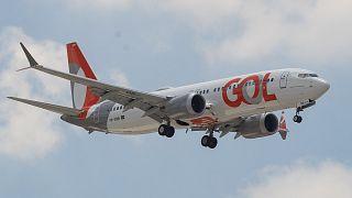 Un Boeing 737 MAX de la compañía brasileña Gol durante su primer vuelo en 21 meses