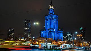 The Palace of Culture in Warsaw illuminated in blue on December 9, 2020.