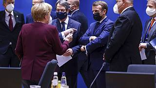 EU leaders during a round table meeting at an EU summit in Brussels, Friday, Oct. 16, 2020.