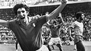 Rossi celebrates a goal against Brazil on the way to helping Italy win the 1982 World Cup