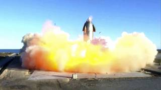 SpaceX, the company's Starship becomes engulfed in flames and ruptures upon touching down after a test flight